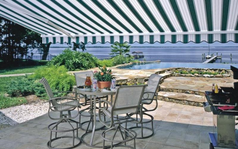 Retractible awnings make your outdoor living space comfortable on sunny days.